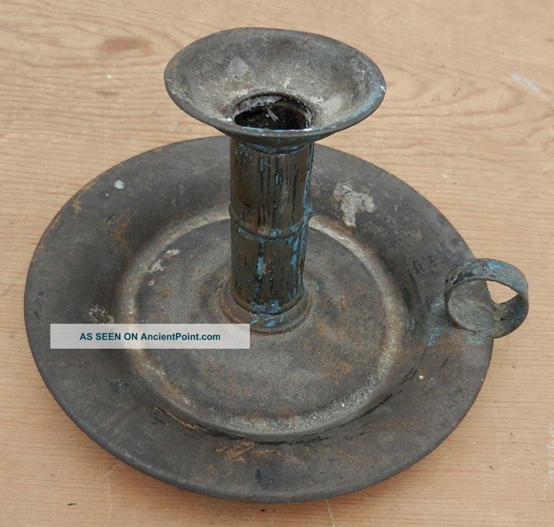 Antique 19th C.  Estate Fresh Hand Tin Saucer Type Candlestick Primitives photo