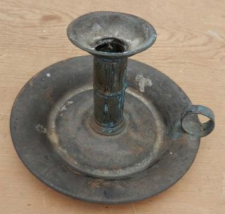 Antique 19th C.  Estate Fresh Hand Tin Saucer Type Candlestick photo