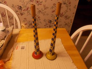 19303/1940s Tin Horns With Wooden Mouthpieces Clown Design Mady By Kirch photo
