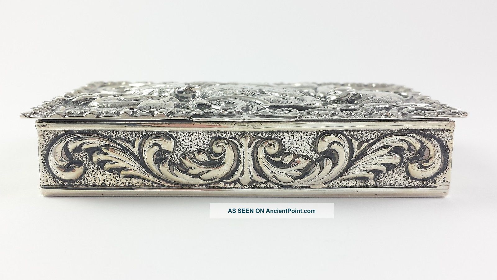 Vintage Spanish Hunting Interest Solid Silver Snuff Box Mid 20thc Boxes photo