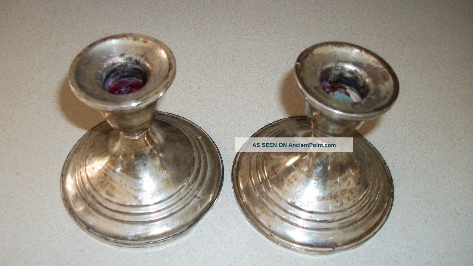 Pair Sterling Silver Weighted 3 Candle Holder Candlesticks Scrap Or Use 3 1/2
