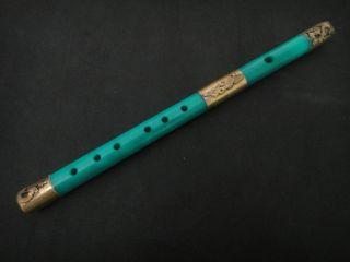 Wonderful Handwork Carve Light Green Jade Flute Armored Dragon Phoenix photo