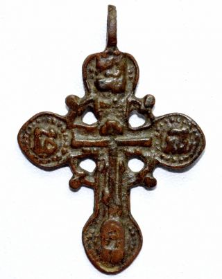 Late Medieval Bronze Radiate Cross Pendant - Wearable Artifact - St3 photo
