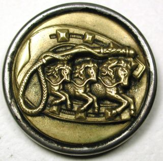 Antique Brass Equestrian Button 3 Horses W/ Crop & Horse Shoe - 1 & 3/16