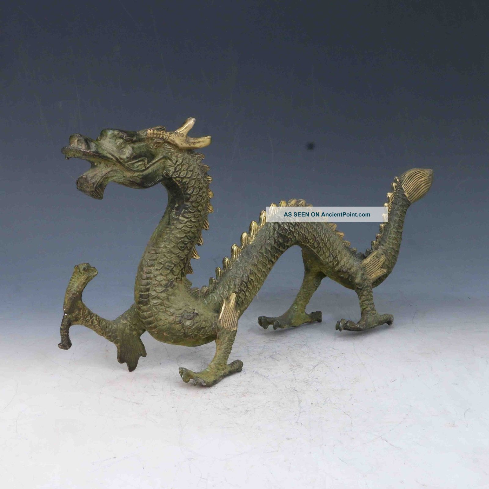 Chinese Bronze Gilt Handwork Carved Flying Dragon Statues X0281 Other Antique Chinese Statues photo