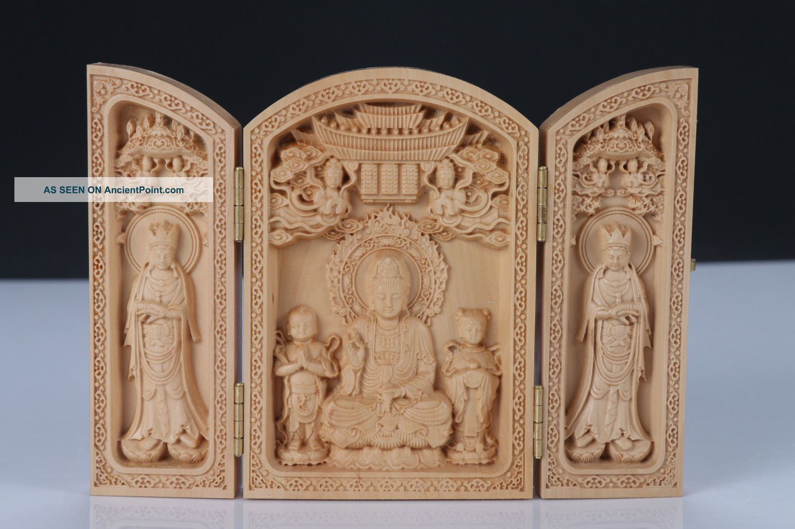 Boxwood Highly Difficulty Carved Floding Box Avalokitesvara Heart Sutra Boxes photo
