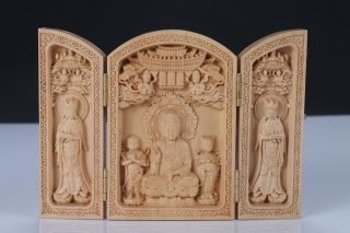 Boxwood Highly Difficulty Carved Floding Box Avalokitesvara Heart Sutra photo