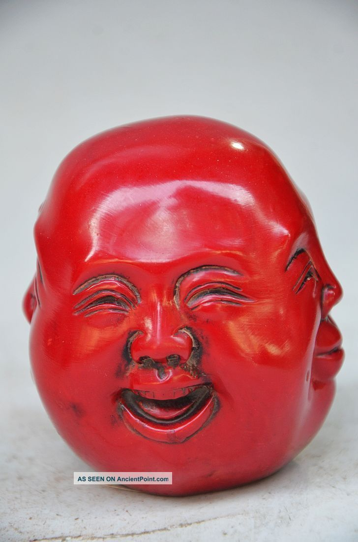 Collectible Chinese Red Coral Hand Carved Lifelike Simian Fo Statue Buddha photo