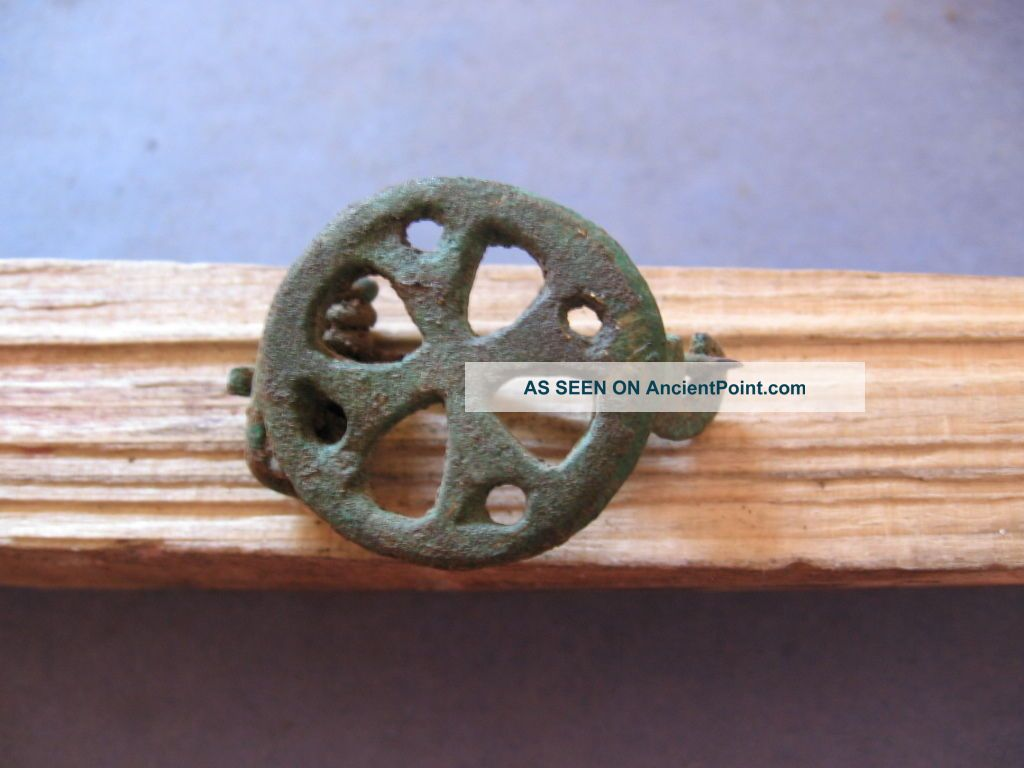 Stylized Cross Fibula Ancient Roman Bronze Early Christian Brooch 5 - 7 Ct A.  D. Roman photo