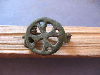Stylized Cross Fibula Ancient Roman Bronze Early Christian Brooch 5 - 7 Ct A.  D. photo