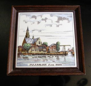 Schoonhoven Holland Delft Tile Trivet Framed Maassluis Anno 1920 Polychrome photo