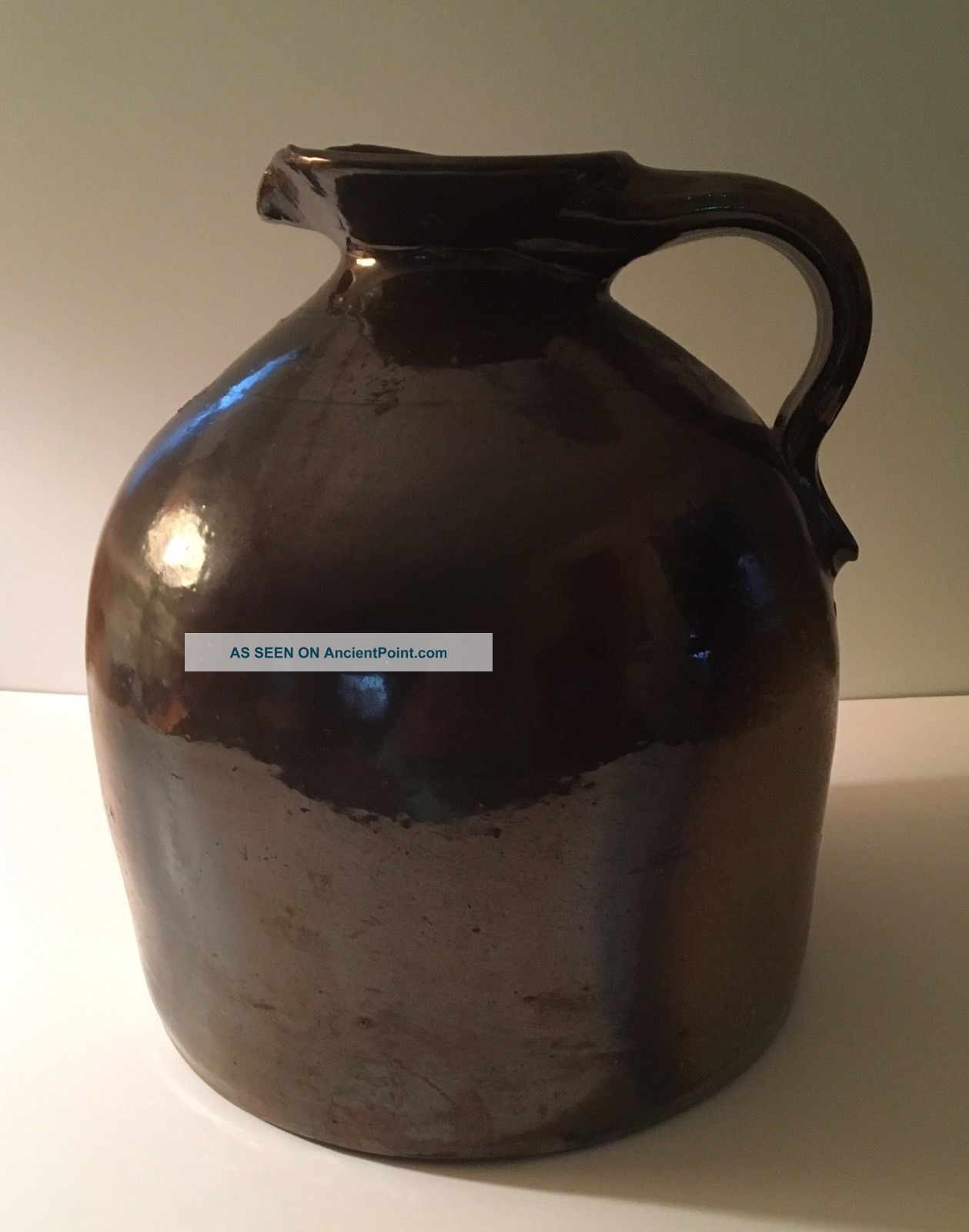 Antique Stoneware Jug Pittston Pa Brown Glaze Evan R Jones Jones Pottery Jugs photo