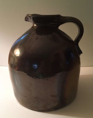 Antique Stoneware Jug Pittston Pa Brown Glaze Evan R Jones Jones Pottery photo