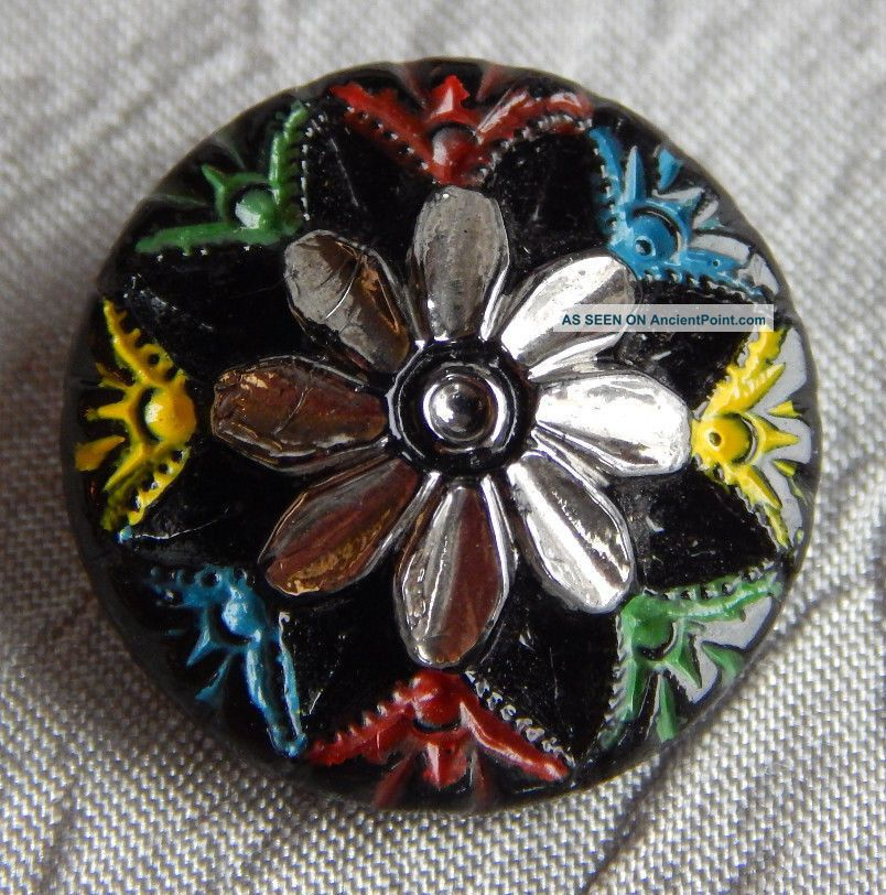 Antique Vintage Glass Button Silver Luster Flower 207 - A Buttons photo