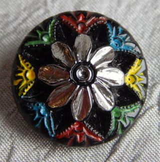 Antique Vintage Glass Button Silver Luster Flower 207 - A photo