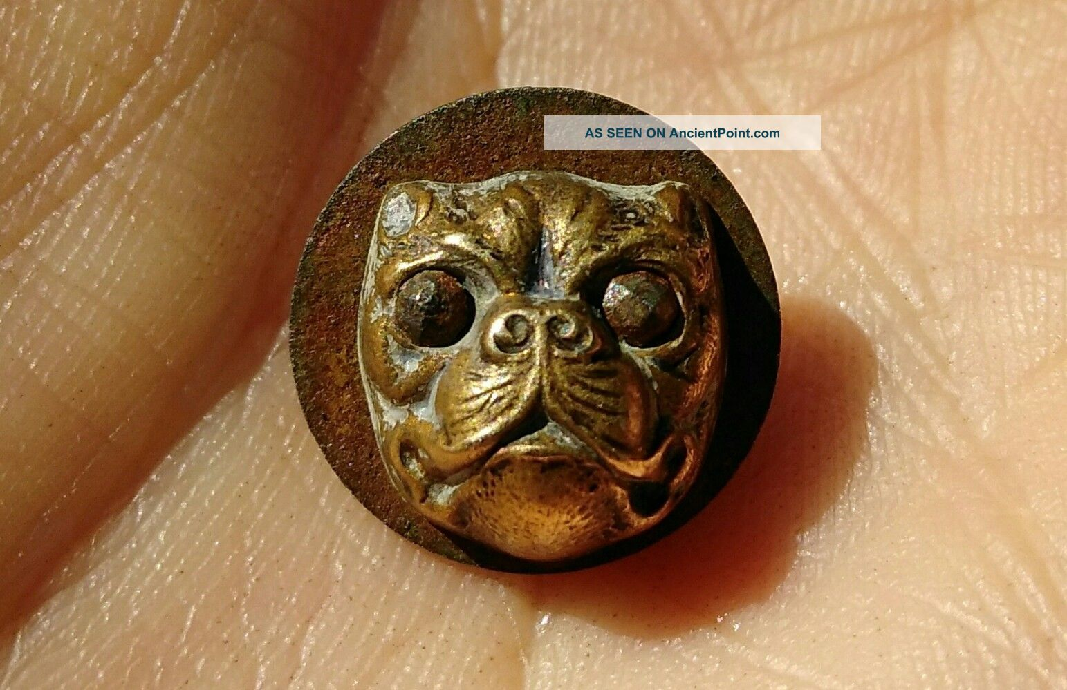 Antique Brass & Steel Bulldog Dog Button 9/16