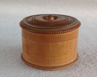Antique Maple String Thread Box,  Ring Turned Lid,  Round Dentil Molding Edges photo