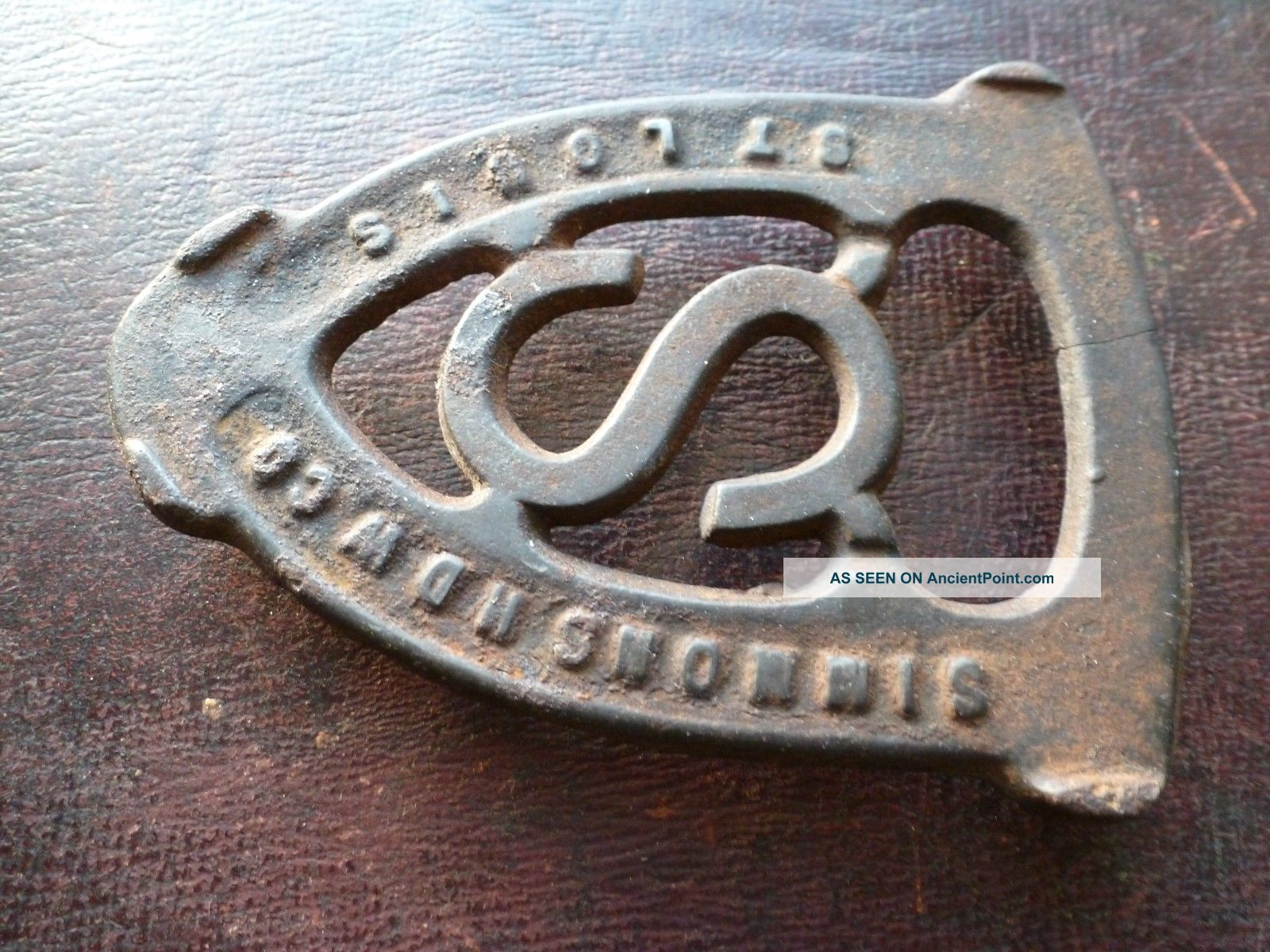 Antique Simmons Hardware St Louis Cast Iron Trivet,  Sadiron,  Early Advertising Trivets photo