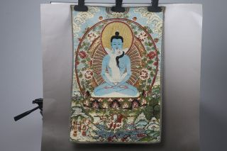 Tibet Collectable Silk Hand Painted Buddha Thangka H645 photo