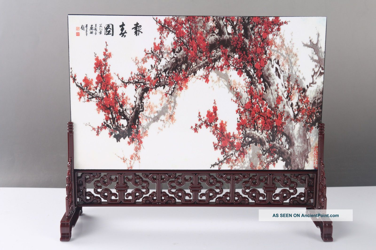 "Exquisite Ancient Chinese Painting "" Flower ""screen Scroll H744 Other Chinese Antiques photo"