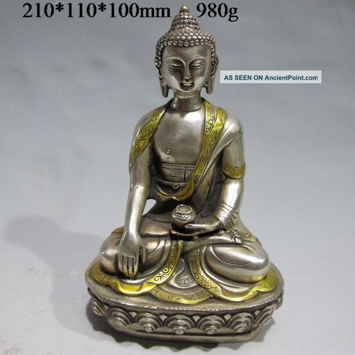 Tibet Tibetan Buddhism Cupronickel Bodhisattva Kuan Yin Buddha Statue Buddha photo