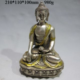 Tibet Tibetan Buddhism Cupronickel Bodhisattva Kuan Yin Buddha Statue photo