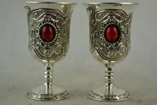 Handwork Miao Silver Carved Pattern Inlay Red Bead Wine Cup photo
