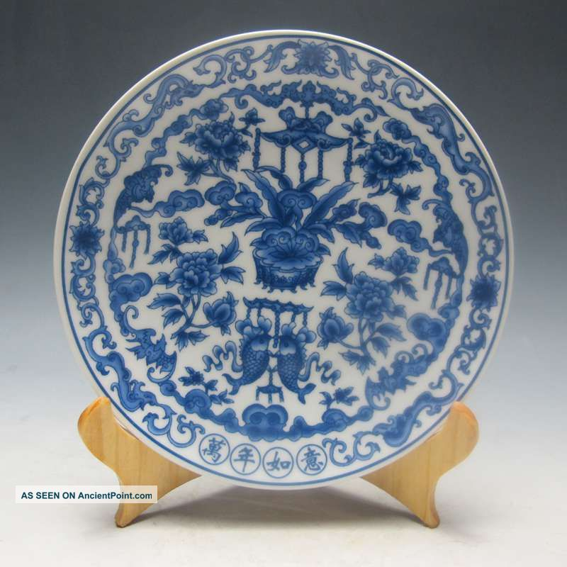 Chinese Blue And White Porcelain Plate Hand - Painted W Qing Dynasty Qianlong Mark Plates photo