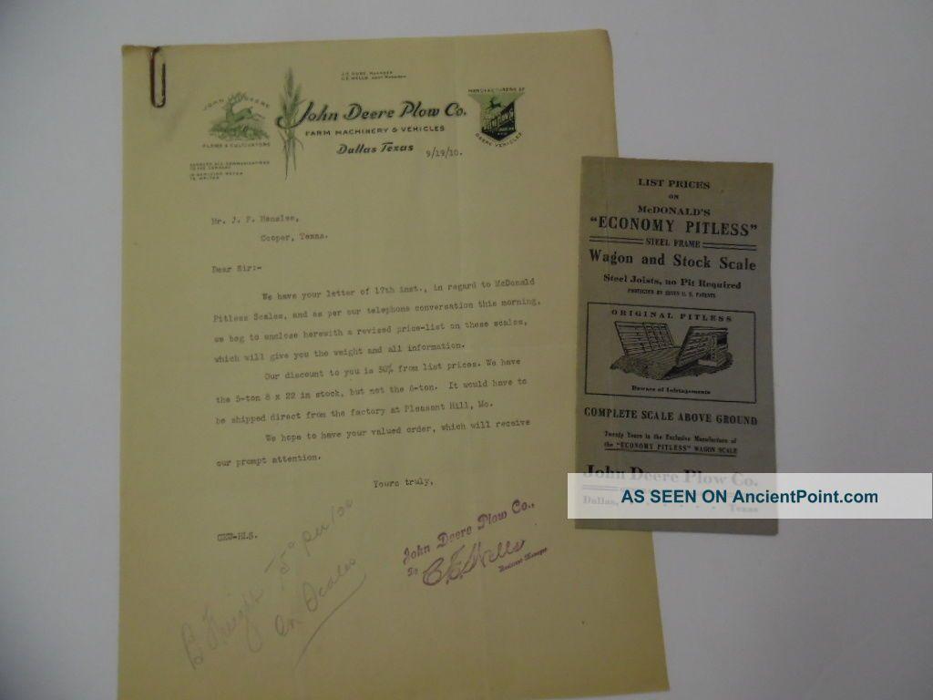1910 John Deere Plow Company Mcdonald Wagon & Stock Scale Brochure Dallas Texas Safes & Still Banks photo