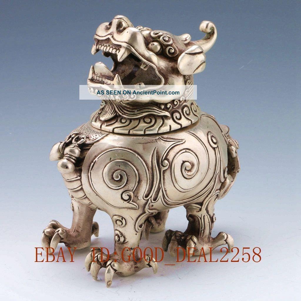 Vintage Tibet Silver Copper Handwork Carved Qilin Incense Burner W Qing Dynasty Incense Burners photo