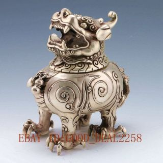 Vintage Tibet Silver Copper Handwork Carved Qilin Incense Burner W Qing Dynasty photo