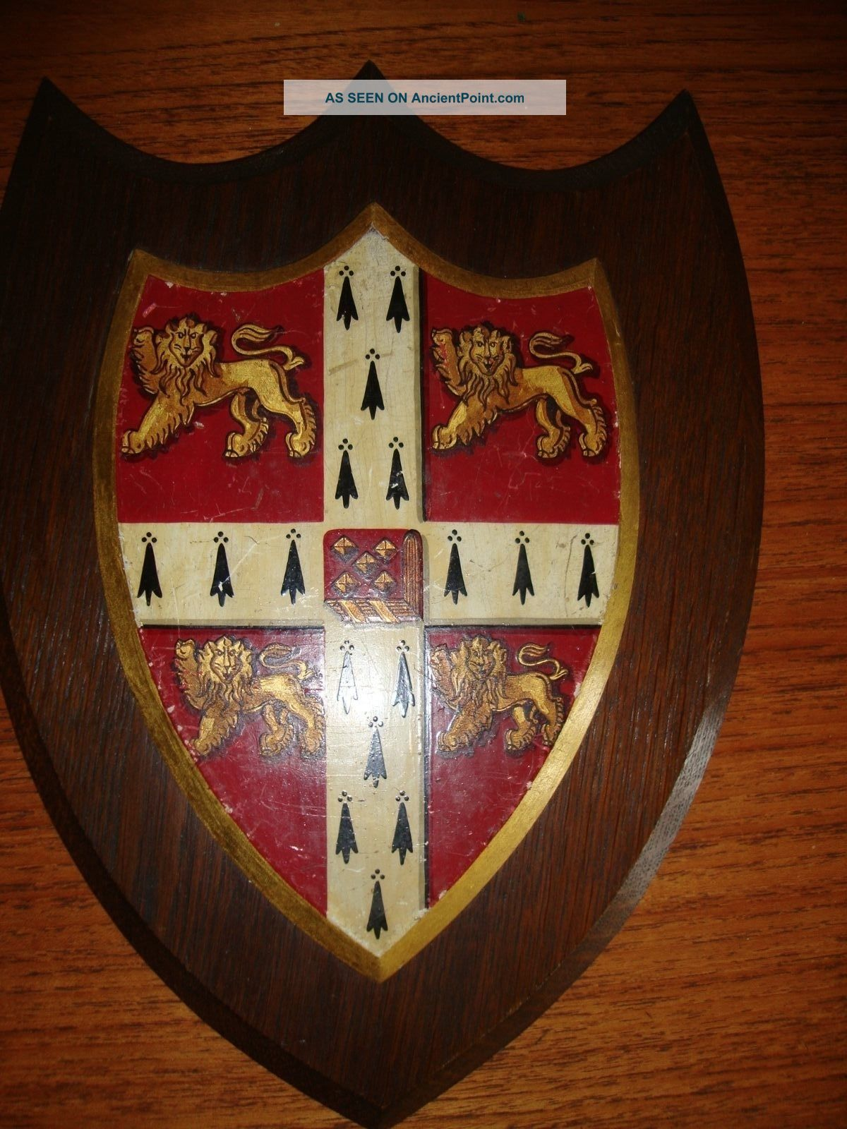 Cambrige University Coat Of Arms Circa 1900 Large - Heraldry Knight Shield Lion Other Antique Architectural photo