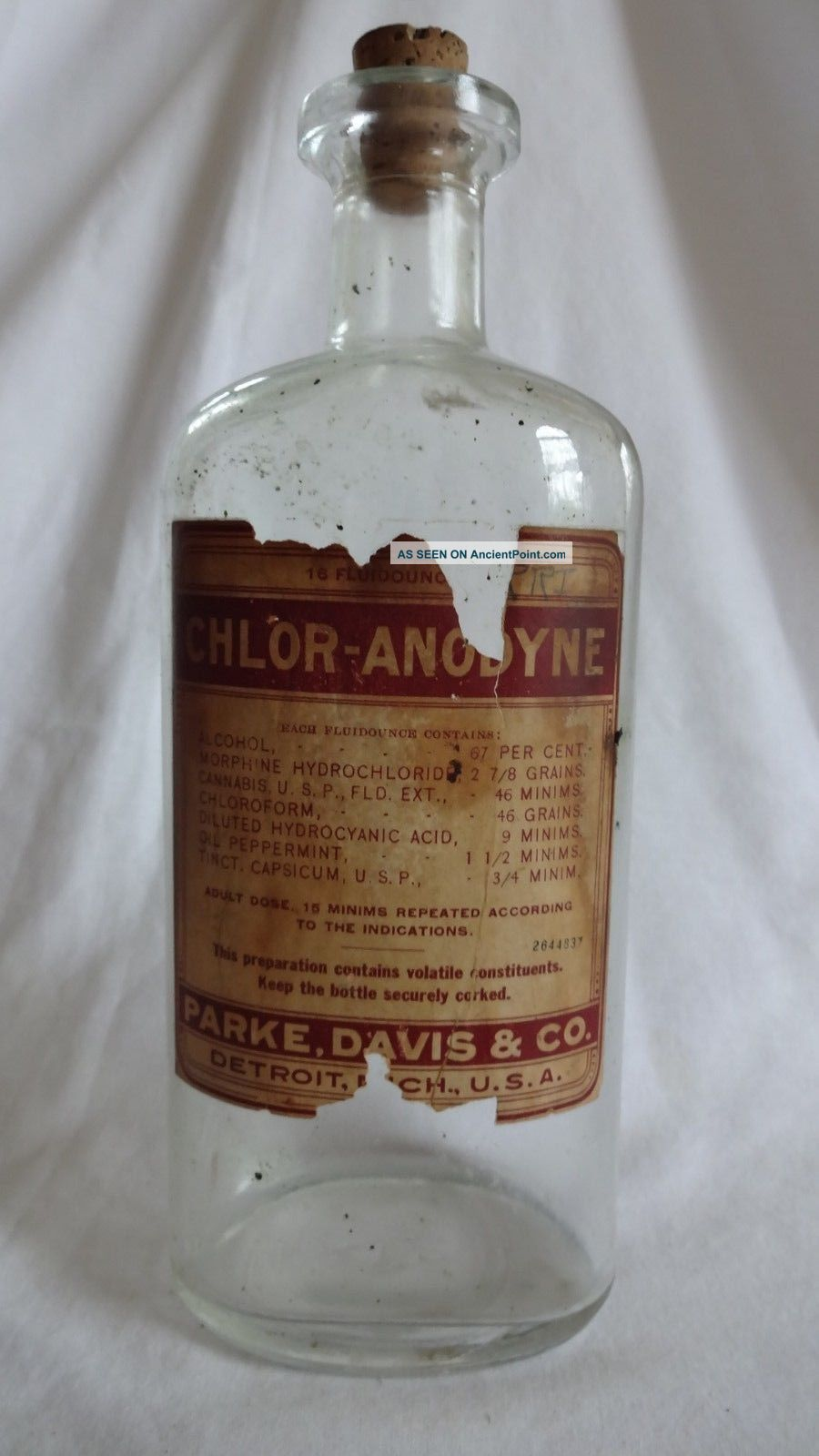 Antique Cannabis Morphine Parke Davis Apothecary Marijuana Extract Bottle Bottles & Jars photo