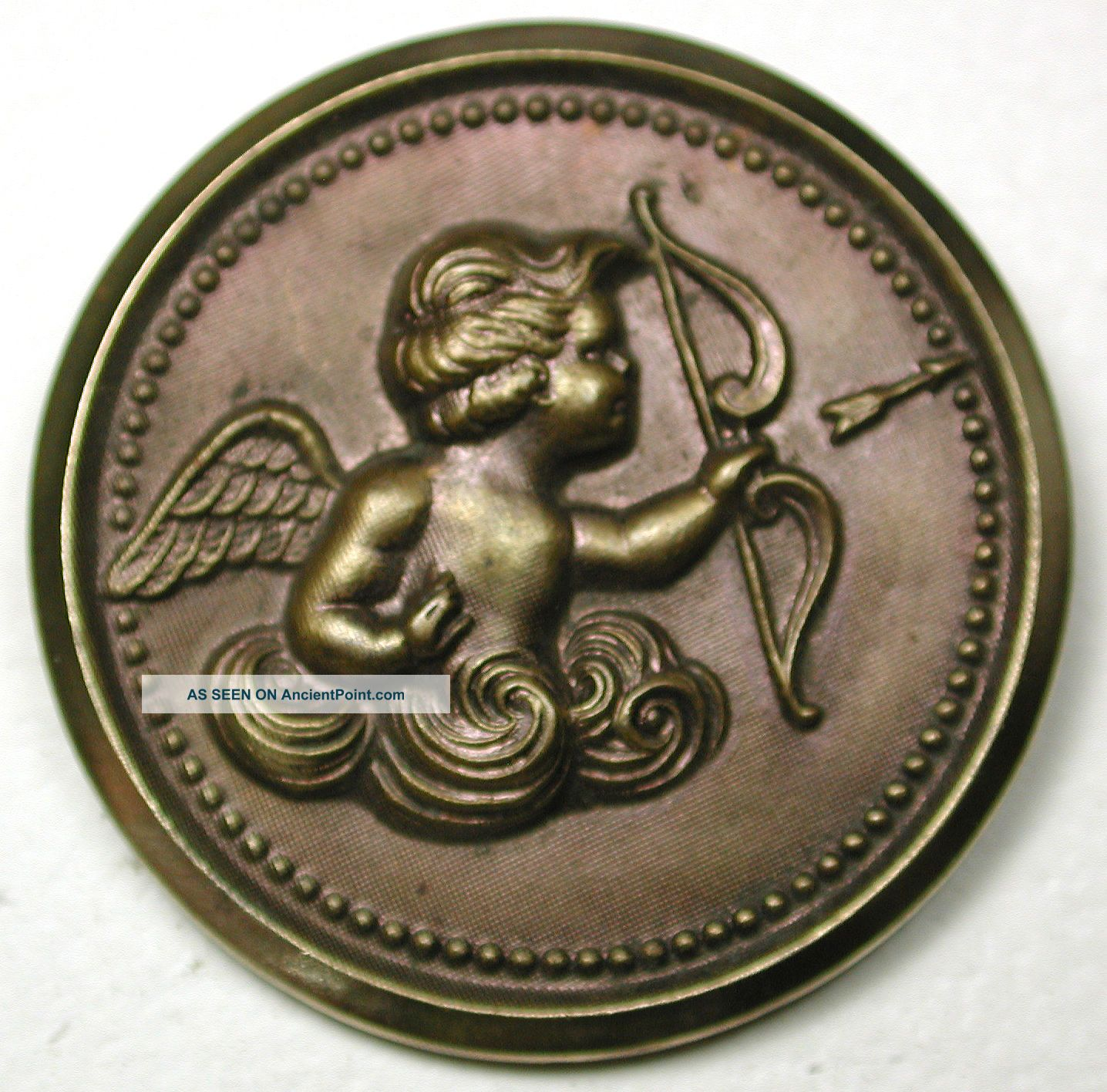 Lg Sz Antique Brass Button Cupid Shooting An Arrow Image - 1 & 1/2
