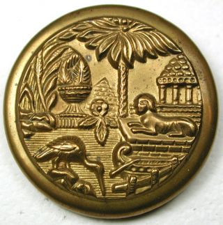 Lg Sz Antique Brass Button Rivers Side Egyptian Temple Scene - 1 & 7/16