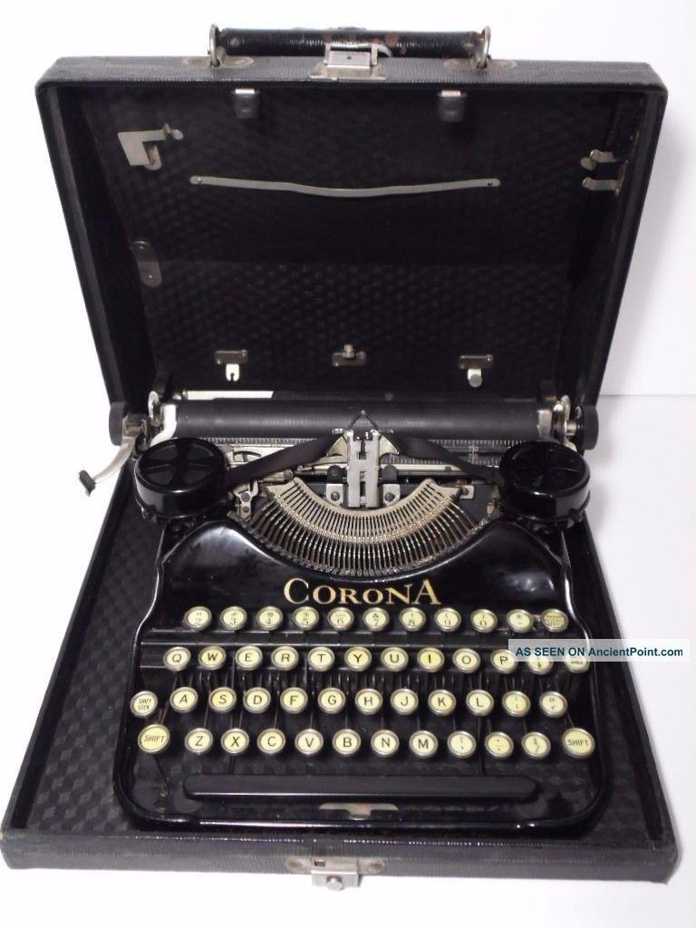 Antique Vtg 1927 Corona Model 4 Black Portable Typewriter Case 2l07556 Typewriters photo