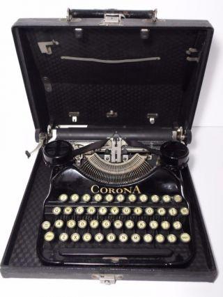 Antique Vtg 1927 Corona Model 4 Black Portable Typewriter Case 2l07556 photo