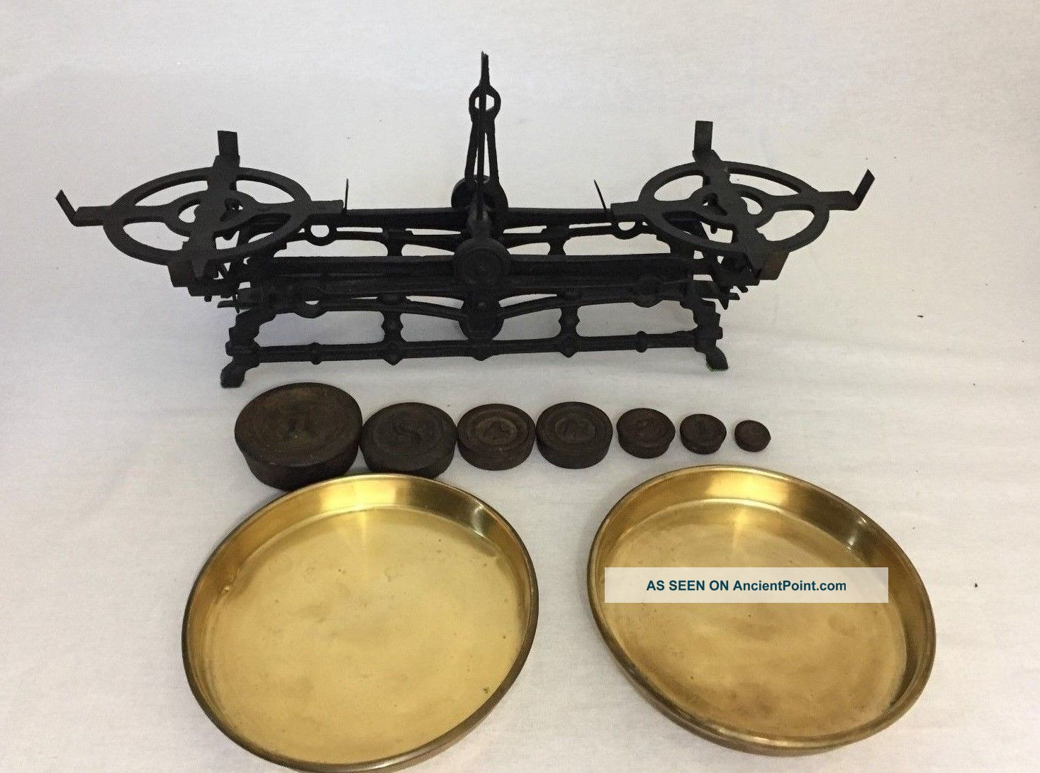 Antique Cast Iron Balancing Beam Counter Scale 3kg W/ Brass Pans & Weights Scales photo