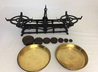 Antique Cast Iron Balancing Beam Counter Scale 3kg W/ Brass Pans & Weights photo