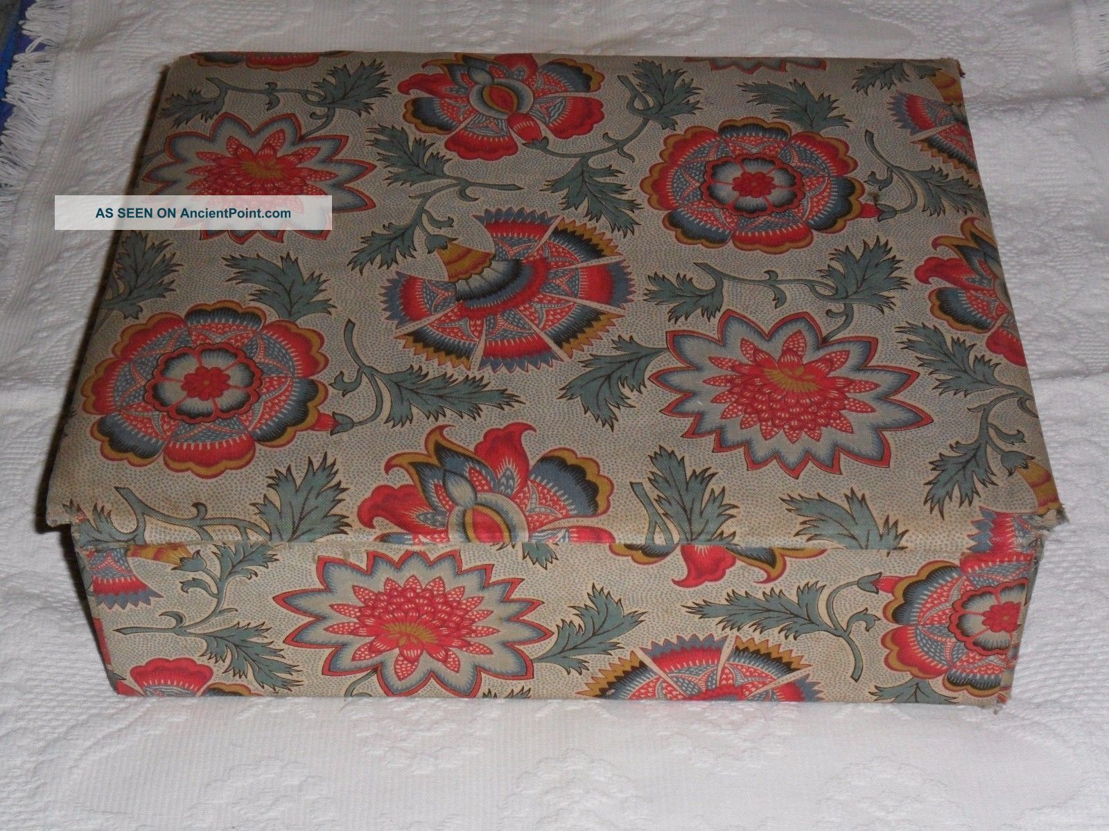 Antique French Box Covered With Antique Floral Textile.  C1930. Baskets & Boxes photo