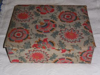 Antique French Box Covered With Antique Floral Textile.  C1930. photo