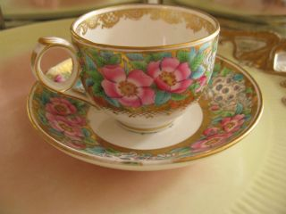 Antique Old Paris Paste Porcelain Cup & Saucer,  Roses On Gold,  Exquisite,  Rare photo