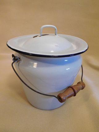 White Enamelware Enamel Chamber Pot Bucket Diaper Pail W/ Lid Wood Handle photo