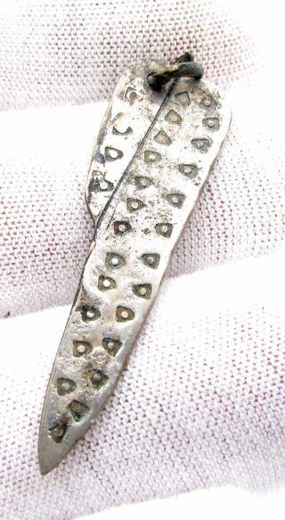 Roman Silver Scalpel Pendant - Tool Medical Very Rare Wearable Artifact - D901 photo