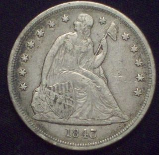 1843 Seated Liberty Silver Dollar Vf,  To Xf Detailing Authentic Priced To Sell photo