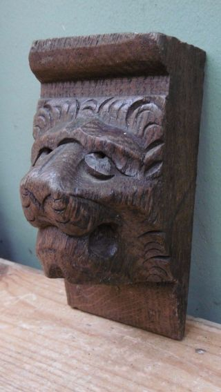 19thc Gothic Oak Carved Lion Head Corbel photo