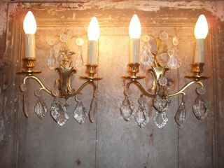 French Patina Gold Bronze Crystals Wall Light Sconces photo