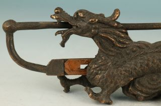 Chinese Old Collect Bronze Hand Carving Dragon Statue Key And Lock Can Be Use photo