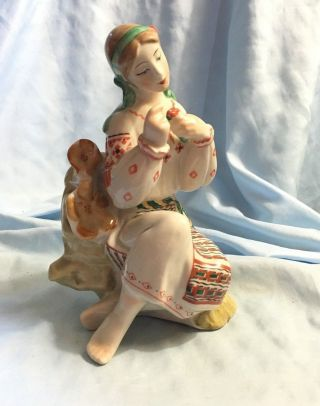 Soviet Ukrainian Ussr Porcelain Figurine Girl Sitting On Tree,  Kiev photo