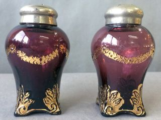 Rare Pair Eapg Jefferson Glass Swag With Brackets Amethyst Salt Shakers 1902 photo